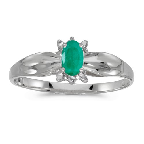 Jewels By Lux 10k White Gold Genuine Green Birthstone Solitaire Oval Emerald And Diamond Wedding Engagement Ring - Size 4.5 (1/6 Cttw.) ()