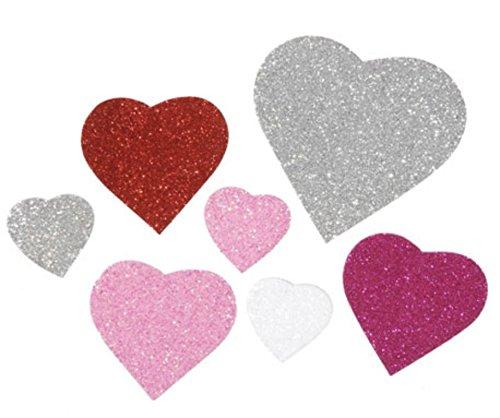 Bright Glitter Foam Heart Stickers