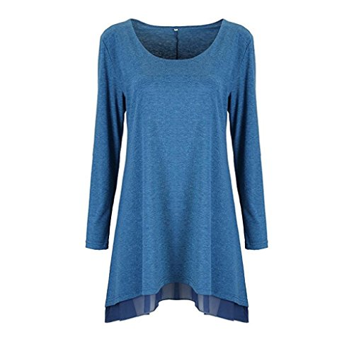 Clearance Solid Color Lace Dress Women Long Sleeve Blouse Layered Scoop Neck Tunic Loose Fit Duseedik