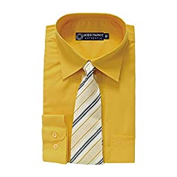 Jacques Valmont - Boy\'s Long Sleeve Shirt with Tie - Yellow (Size 8)