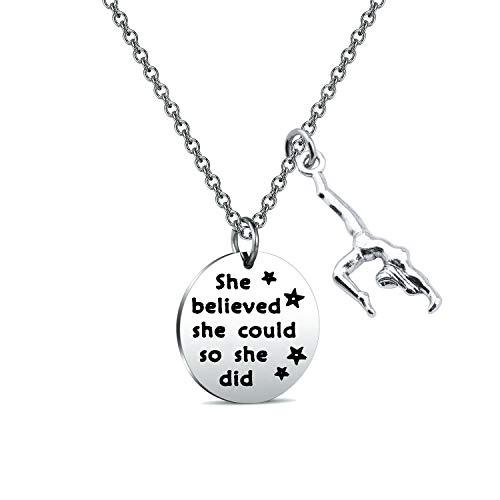 FUSTYLE Gymnast Gift Gymnastics Y Necklace Infinity Love Charm Gymnast Jewelry Gymnastics Class Gift for Women Girls (she Believed Necklace)