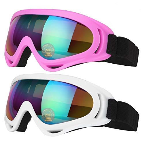 COOLOO Ski Goggles, Pack of 2, Skate Glasses for Kids, Boys & Girls, Youth, Men & Women, with UV 400 Protection, Wind Resistance, Anti-Glare Lenses (White/Pink)