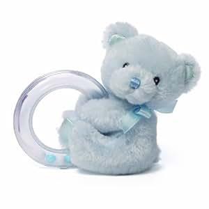 Gund Baby Gund My 1st Teddy Ring Rattle, Blue