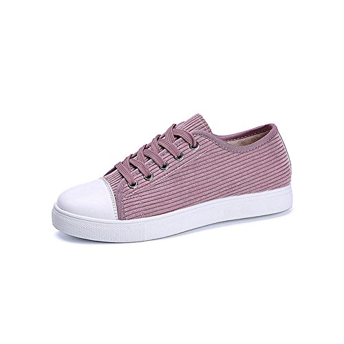 CYBLING Womens Casual Round Toe Lace Up Low To Platform Flat Sneakers Shoes Pink kx4AE1
