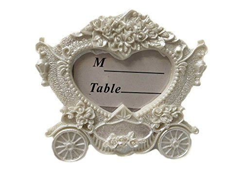 CraftbuddyUS Carriage White Vintage Wedding Place Card Holder Frame,3D Style Picture Frame