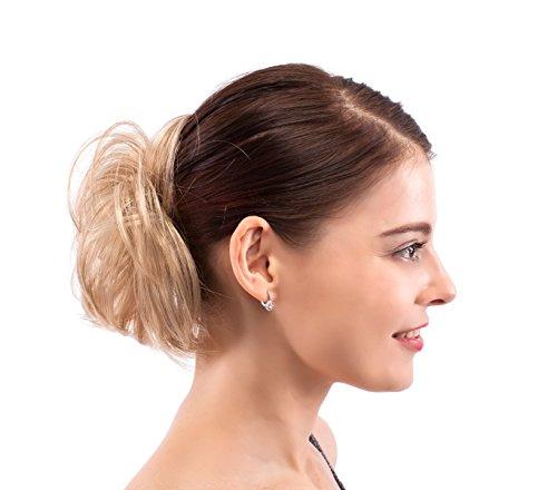 Merrylight Donut hair bun extension scrunchie ponytail hairpieces for women (Honey Blonde-227/863)