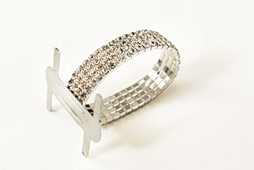 1pc Rhinestone Wrist Band Stretch Corsage Flower Holder Silver
