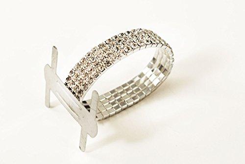 Guess Band Bracelet - 1pc Rhinestone Wrist Band Stretch Corsage Flower Holder Silver