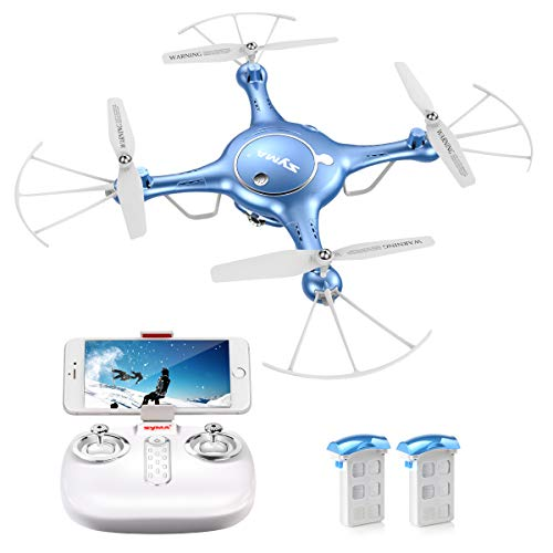 SYMA X5UW FPV RC Drone 720P HD Wi-Fi Camera Live Video Training Quadcopter Beginners- Altitude Hold Headless Mode Gravity Sensor One Key Return Includes Bonus Battery Blue
