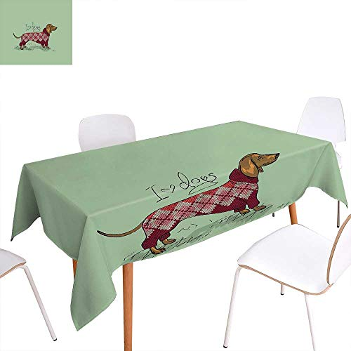 familytaste Dachshund Patterned Tablecloth Cute Dog in Knitted Sweater Design Detailed Colorful Cartoon Style Animal Pattern Dust-Proof Oblong Tablecloth 54