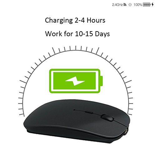 Wireless Mouse,BOOMER VIVI Rechargeable Portable Bluetooth 3.0 Slim Mice 3 Level Adjustable DPI Power-saving Model Built-in Battery with USB cable for PC Laptop Windows/Android Tablet,Mac by BOOMER VIVI (Image #4)