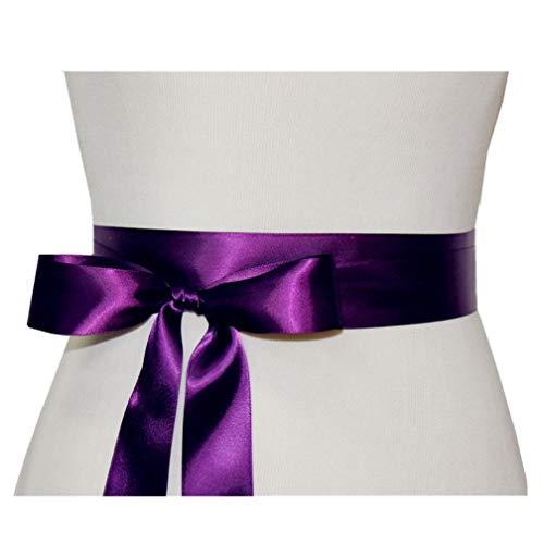 Wedding Sash Bridal Belts Simple Classic Silk Ribbon Sash for Dress (Purple)