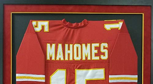 793a798c7ea Patrick Mahomes Kansas City Chiefs Autograph Signed Custom Framed Red Jersey   15 Suede Matted JSA
