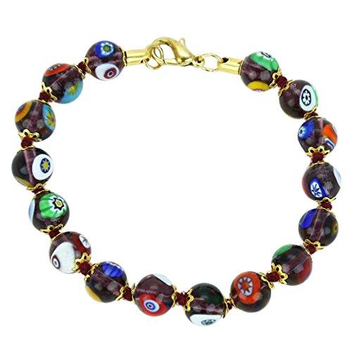 GlassOfVenice Murano Glass Mosaic Bracelet - Transparent (Amethyst Murano Bracelets)