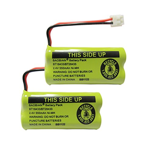 BAOBIAN 2.4V Rechargeable Cordless Phone Batteries Compatible with for AT&T/Lucent BT-18433 BT-184342 BT-28433 BT-284342 BT-6010 BT-8000 BT-8001 BT-8300 Empire CPH-515D CPH515D(Pack of 2)