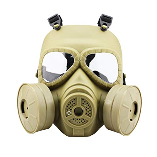 (Freahap Cosplay Gas Mask Full Face Paintball Mask with 2 Canisters for Airsoft Halloween Party Toy)