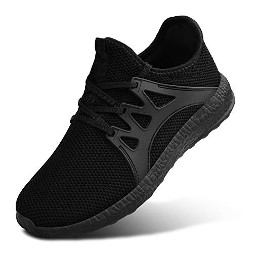 MARSVOVO Womens Fashion Ultra Lightweight Breathable Mesh Street Sport Walking Shoes Casual Sneakers Black Size 9.5 Black Leather And Mesh Sneakers