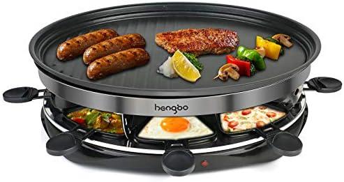 Raclette Grill, Raclette Parrilla para 8 Persona, Revestimiento Antiadherente,Termostato, para Encuentro Familiar/ Camping/ Fiesta de Amigos -1500W, ...