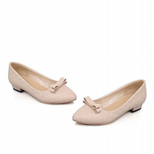 Latasa Mode Féminine Pointe-toe Bow Pompes À Talons Bas, Chaussures Plates Abricot