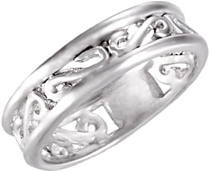 Sterling Silver Matte Finish Scroll Band Size 6, Ring Size 6