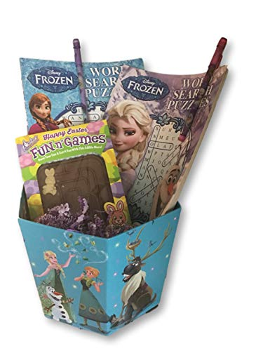 Frozen Easter Basket Bundle - Two Elsa & Anna Word Search Puzzle Books & 2 Pop-Up Pencils + Fun N' Games Chocolate Candy -