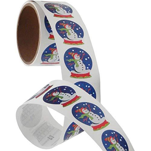 Bulk Roll Prismatic Stickers, Snow Globe/Snowman (100 Repeats)