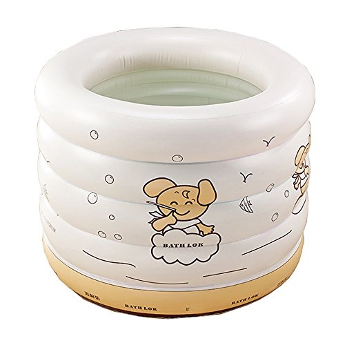 Baby Inflatable Pool Bathtub Home Insulation Indoor Round Tub for 1-3 Years Baby Bathtub Baby Swimming Bucket 100x75CM (Color : Cream White) by PPBathtub (Image #1)