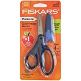 Fiskars Safety-Edge Pointed-tip Kids Scissors - 5 inches - Blue - Includes Blade Cover