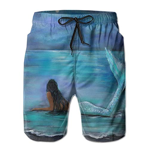 YongColer Mermaid Moon and Stars Painting Art Cargo Short Men & Boys Breathable Swim Trunks for Beach Outdoor Hiking Fast Dry Adjustable Drawstring Basic Half Pants with Pocket Sportwear