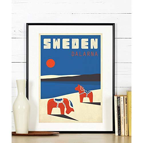 Dalarna Scandinavia Sweden Travel poster Horses tourist poster Scandinavian landscape travel art print Dala horse