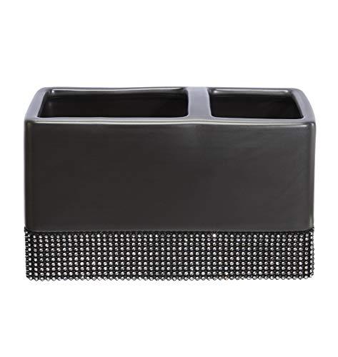House & Homestyle Black Toothbrush Tidy-Ceramic Glimmer Zahnbürstenhalter, Keramik, Schwarz, Einheitsgröße