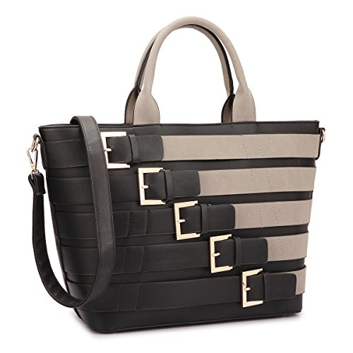 Dasein Women Tote Purse with Buckles Large Size Handbag with Shoulder Strap (Black) ()