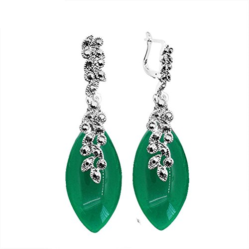 Pendant Madeleine Light - Gome-z Leaf Pendant Opal Resin Rhinestone Earrings For Women Vintage Them Antique Silver Plated Fashion Jewelry Green Resin
