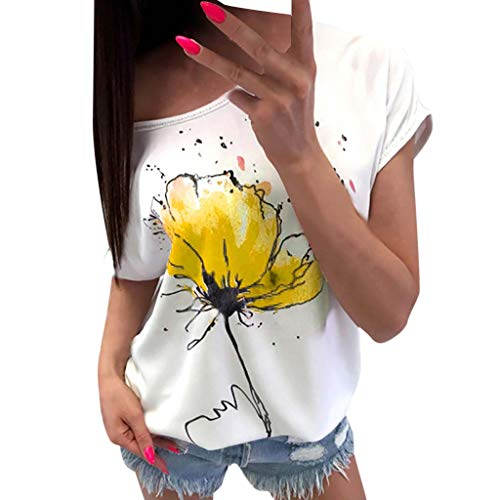 FORUU T Shirts For Womens, Ladies Casual Floral Printed Short Sleeve Loose Tops Shirts Tees Blouses Bridesmaid Wedding 1920s 1950 Newest Arrivals Trendy Stylish Elegant Cute On -
