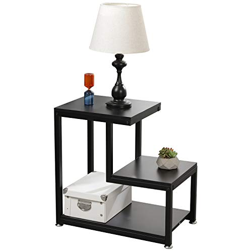 soges Small End Table Nightstand Beside Sofa Table Free Standing Shelf 3-Tier Storage Organizer for Living Room Bedroom DX-C00200-BK (Side Tier Table 3)
