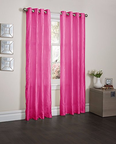 Fuchsia Orange Crushed Satin Window Curtain Panel With 8 Grommets, Curtains - 52''X84'' by Window Treatment