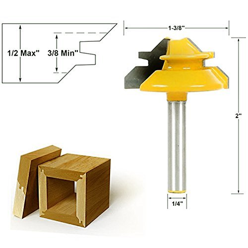 Coldtoy New 45 Degree 1 2 Stock 1 4 Shank Small Lock Miter Router Bit