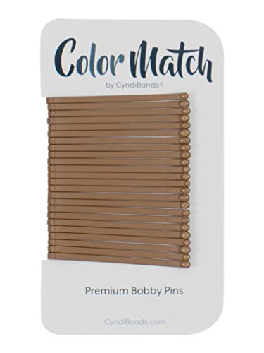 Color Match by Cyndibands Straight Enamel Bobby Pins - 24 Count (Light Brown)