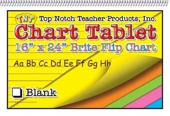 8 Pack TOP NOTCH TEACHER PRODUCTS CHART TABLETS 16X24 ASSORTED BLANK
