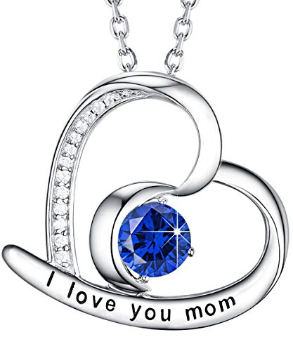 ❤️ I Love You Mom ❤️ Love Heart Half Moon Jewelry Mom September Birthstone Blue Sapphire Pendant Necklace Birthday Her Lady Sterling Silver Swarovski 18