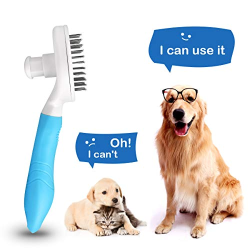 Cat Brush, Dog Brush, UPGRADED Self Cleaning Grooming Brushes, Rabbit Slicker Brush, MENNYO Professional Pet Shedding Comb for Long/Medium/Short Hair - Removes 95% of Dead Undercoat and Loose Hairs