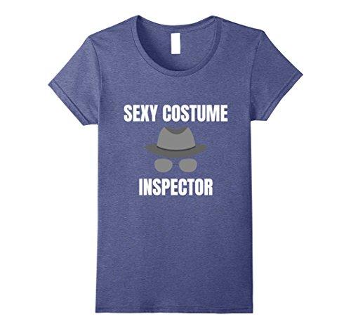 Sexy Halloween Costomes (Womens Sexy Costume Inspector T-Shirt Halloween Tee Small Heather Blue)
