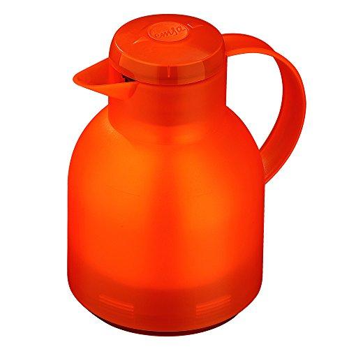 (Emsa Samba, Quick Press, Vacuum Insulated Thermal Carafe, 34 oz, Translucent Orange)