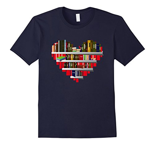 Mens Book T-Shirt Reading Club Librarian Library Love Heart Tee Large - Clothing Librarian
