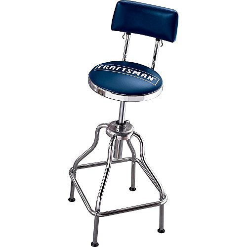 Craftsman Chrome and Vinyl Hydraulic Stool - Comfortable Swiveling Barstool for Home Bar Shop or Garage (Blue)