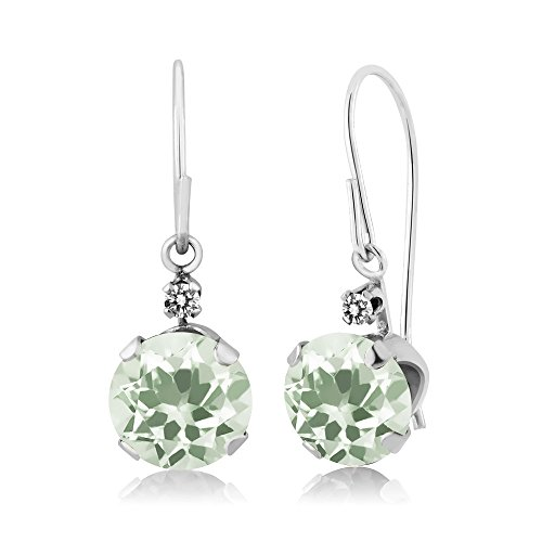 Gem Stone King 1.93 Ct Round Green Prasiolite White Diamond 14K White Gold - 14k Green Diamond Gold
