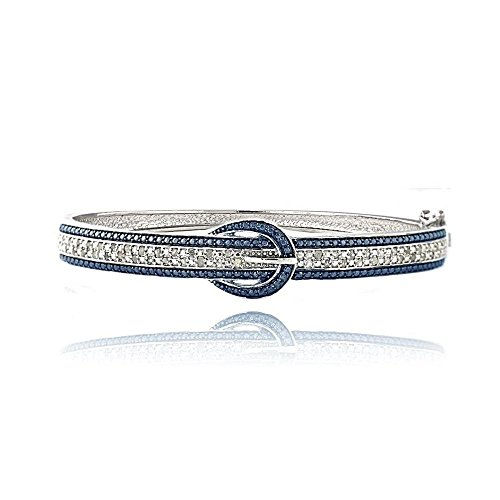 Brass Blue & White Simulated Diamond Belt Buckle Bangle Bracelet (Diamond Buckle Bangle)