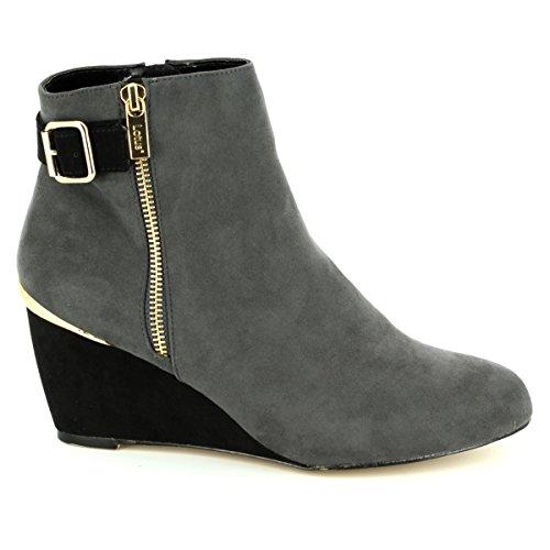 Womens Boots MICROFIBR Lotus Dress GREY BLACK Ankle Cassia 5xwRw8Pg