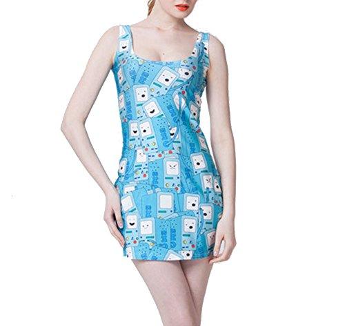 [mode] Sans Manches Col Ras Du Cou Imprimé Chemise Cavalier Slim Fit Un Mini-robe D'été Yw Clb1103 Bleu