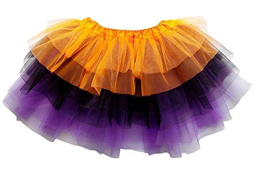 Black Fairy Halloween Costumes (So Sydney Adult Plus Kids Size 6 LAYER FAIRY TUTU SKIRT Halloween Costume Dress (L (Adult Size), Orange Black Purple))